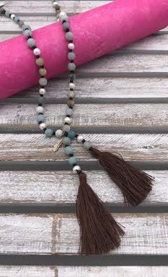 Amazonite and Pearl Tassel Necklace