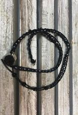 Black Druzy and Pearl Wrap Bracelet