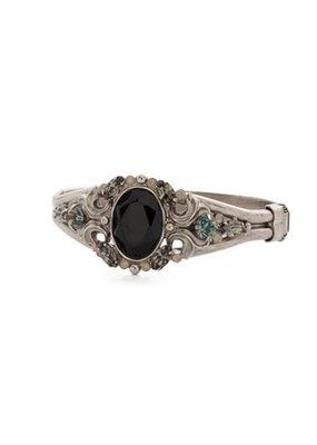 Sorrelli Silver and Black Onyx Bangle Bracelet