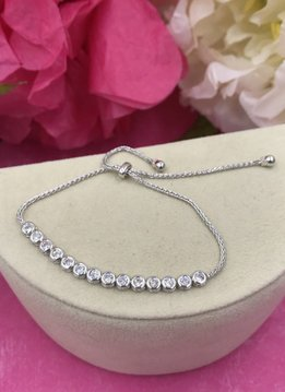 Italian Sterling Silver Adjustable Round CZ Bracelet