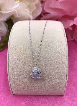 Italian Sterling Silver Necklace with Moonstone Teardrop Shaped Pendant