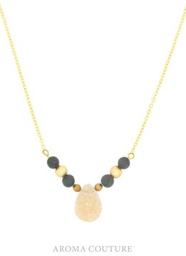Aroma Couture Champagne Druzy Lava Rock Diffuser Gold Necklace