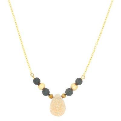 Aroma Couture Champagne Druzy Lava Rock Diffuser Gold Necklace