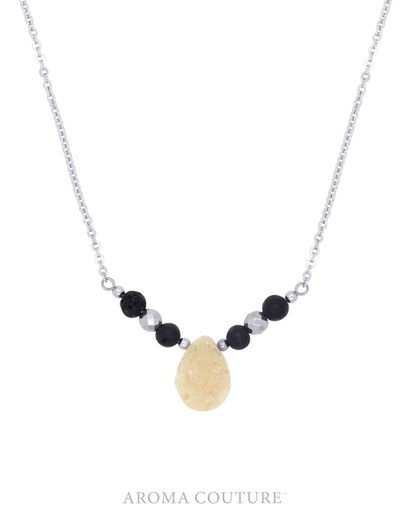 Aroma Couture Hadley Druzy and Hematite Diffuser Necklace