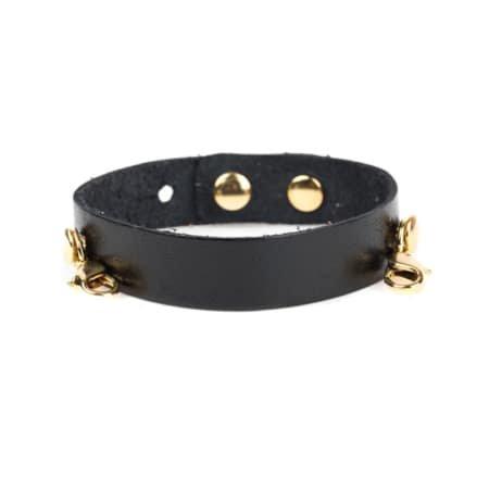 Lenny & Eva Black Leather Cuff Bracelet with Gold Finish