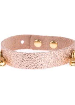 Lenny & Eva Rose Gold Leather Cuff Bracelet with Gold Finish