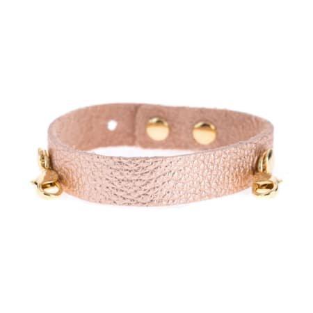 Lenny & Eva Rose Gold Leather Cuff Bracelet with Gold Finish