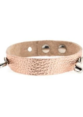 Lenny & Eva Rose Gold Leather Cuff Bracelet with Silver Finish