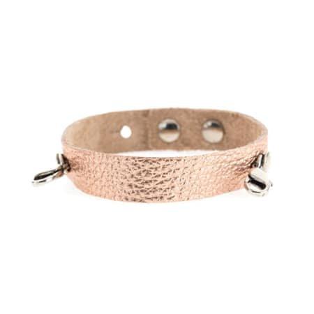 Lenny & Eva Rose Gold Leather Cuff Bracelet with Silver Finish