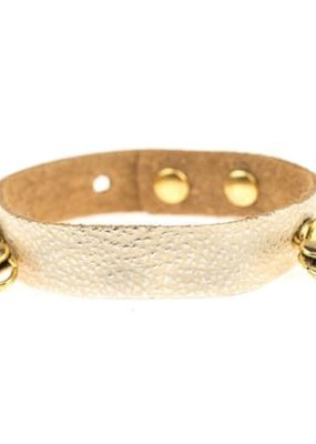Lenny & Eva Champagne Leather Cuff Bracelet with Gold Finish
