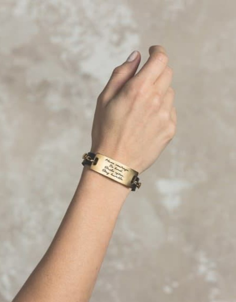Lenny & Eva Black Leather Cuff Bracelet with Gold Finish