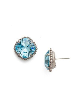 Sorrelli Antique Silver Cushion-Cut Solitaire Earring in Aquamarine