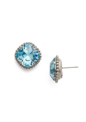 Sorrelli Cushion-Cut Solitaire Antique Silver Earrings in Aquamarine