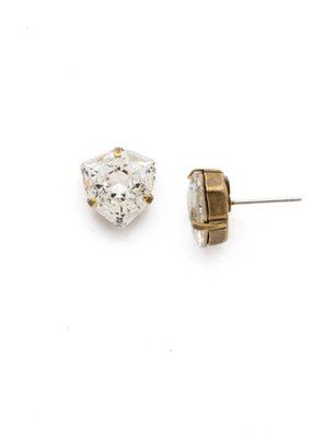 Sorrelli Sorrelli Antique Gold Perfectly Pretty Earring in Clear Crystal