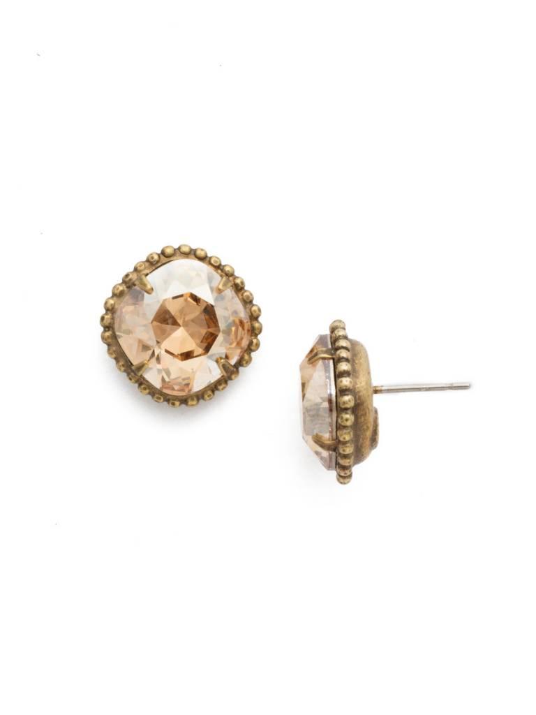 Sorrelli Antique Gold Cushion-Cut Solitaire Earring in Dark Champagne