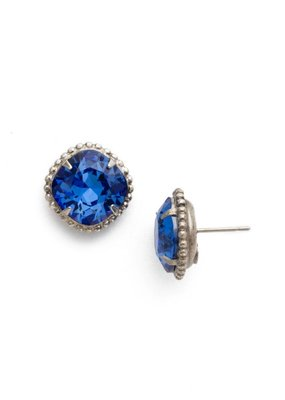 Sorrelli Antique Silver Cushion-Cut Solitaire Earring in Sapphire