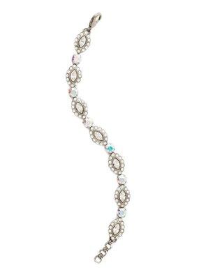 Sorrelli Antique Silver Moonflower Bracelet in White Bridal