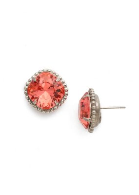 Sorrelli Antique Silver Cushion-Cut Solitaire Earrings in Coral