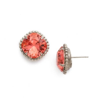 Sorrelli Cushion-Cut Solitaire Earring in Coral