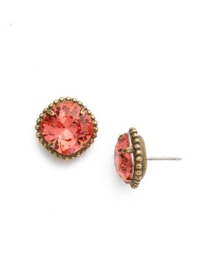 Sorrelli Antique Gold Cushion-Cut Solitaire Earrings in Coral