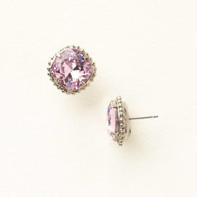 Sorrelli Antique Silver Cushion-Cut Solitaire Earrings in Light Rose
