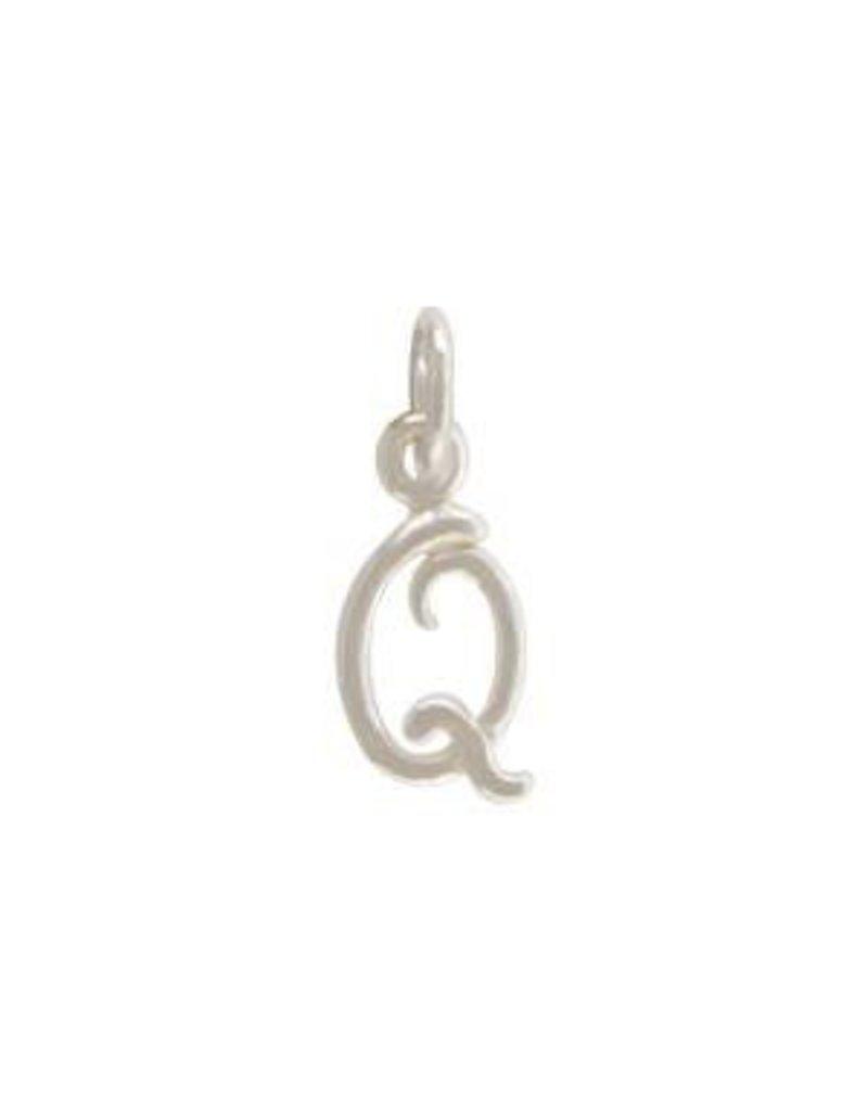 Sterling Silver Initial Q Script Charm