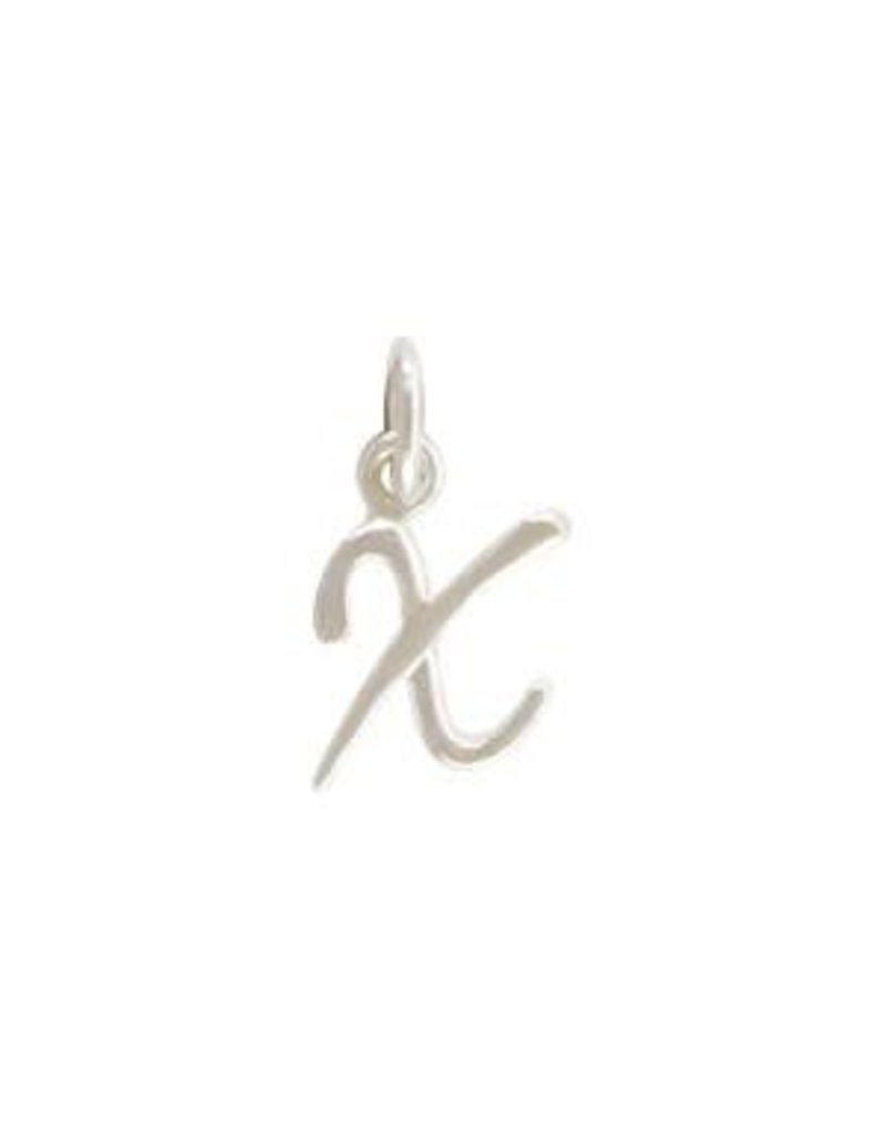 Sterling Silver Initial X Script Charm
