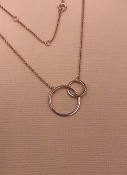 iiShii Sterling Silver Rose Gold Plated Double Circles Necklace