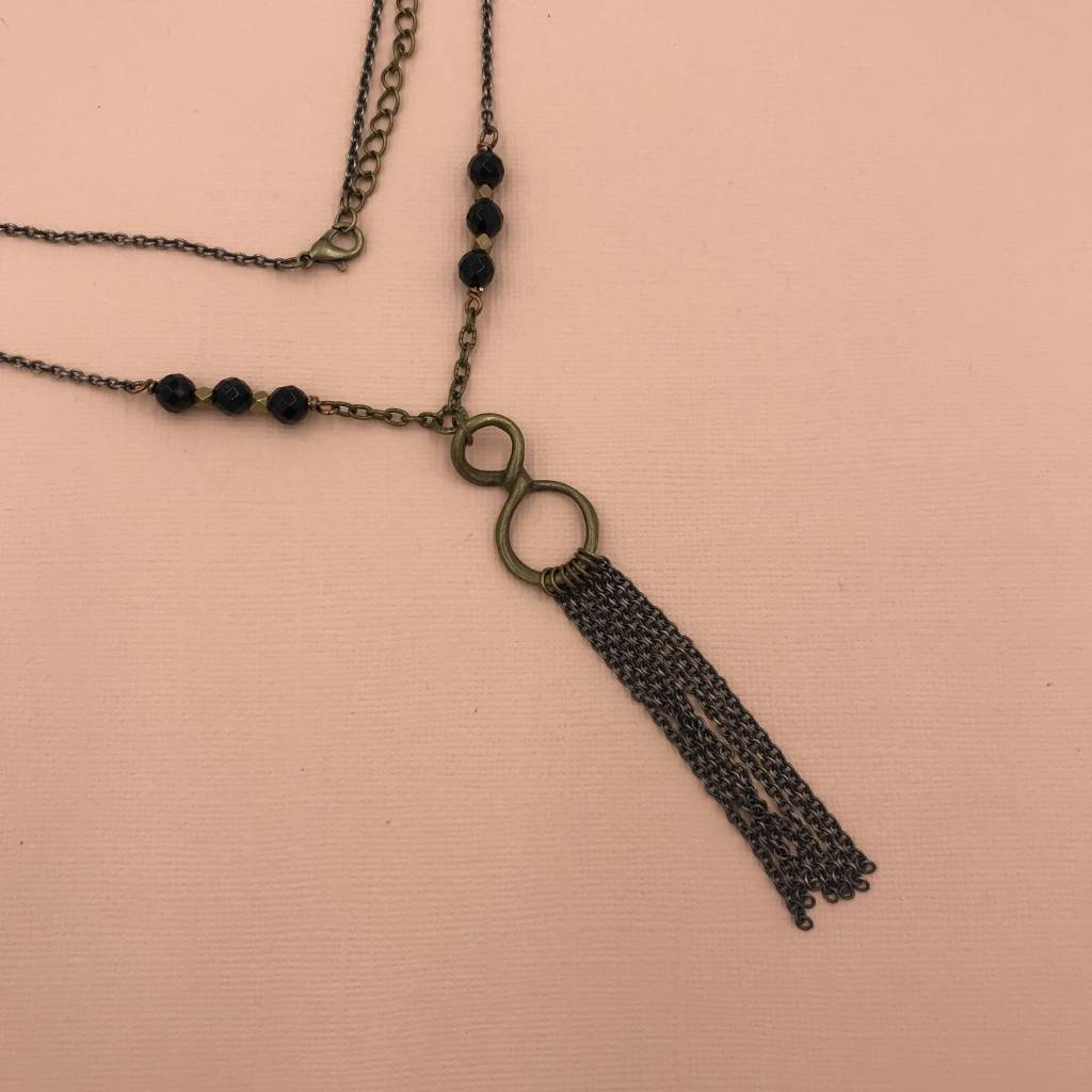 Edgy Petal Black Onyx and Brass Infinity Tassel Necklace