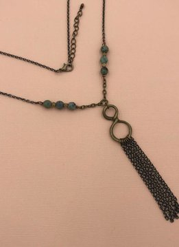 Edgy Petal Green Turquoise and Brass Infinity Tassel Necklace