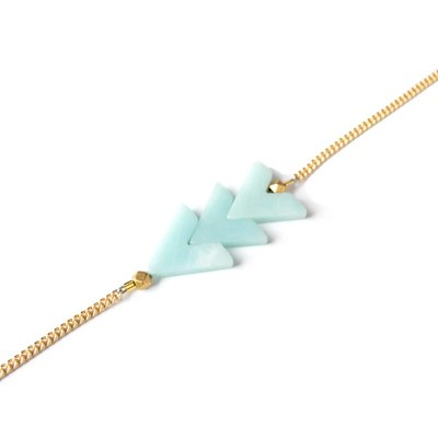 Larissa Loden Amazonite Tripple V Golden Brass Bracelet
