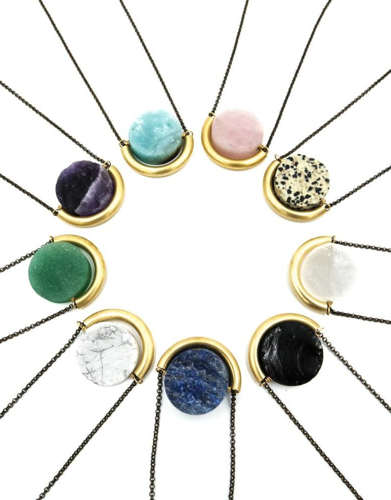 Larissa Loden Green Aventurine Sun and Moon Golden Brass Necklace