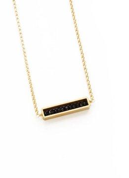 Larissa Loden Black Spinel Abacus Golden Brass Necklace