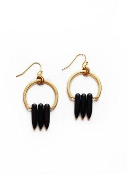 Larissa Loden Black Magnesite Spike Atum Golden Brass Earrings