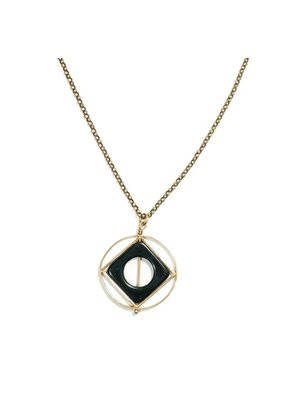 Michelle Starbuck Black Onyx Theorem Gold Necklace