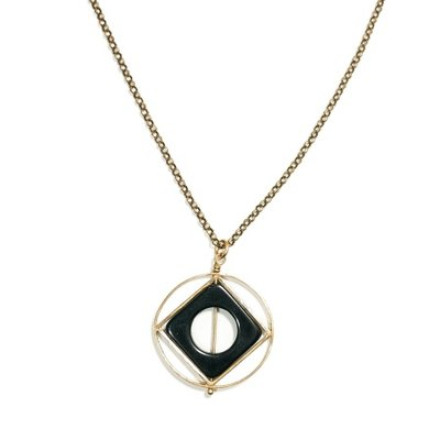 Michelle Starbuck Black Onyx Theorem Gold 30 inch Necklace