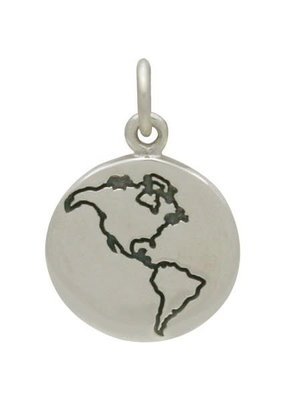 Sterling Silver Etched Globe Charm