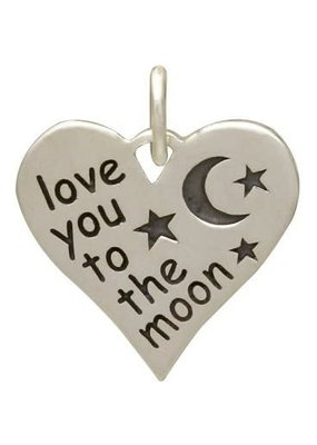 """Sterling Silver """"Love You to the Moon"""" Heart Charm"""