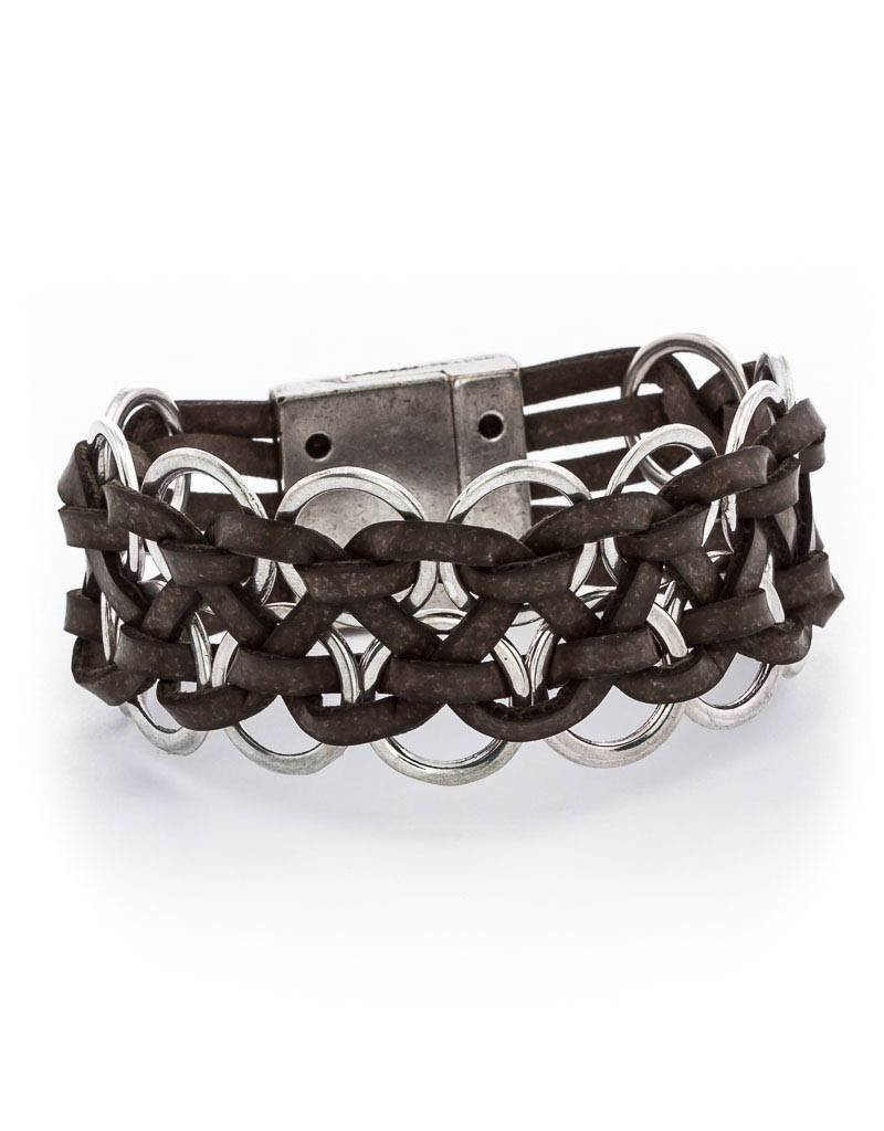 Trades Leather Army Green Braclet With Metal Rings With Magnetic Clip
