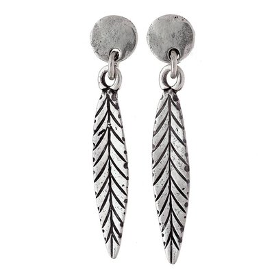Trades Silver Dangle Earrings With Silver Leaves