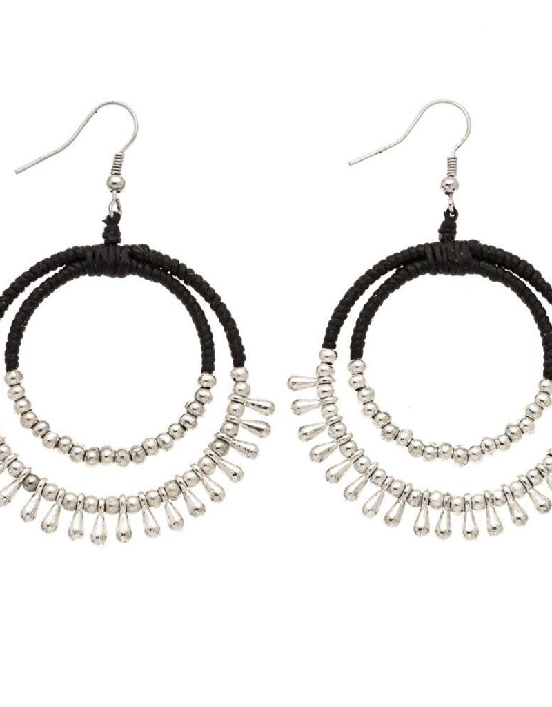 Trades Black Leather And Silver Beaded Earring With Two Hoops