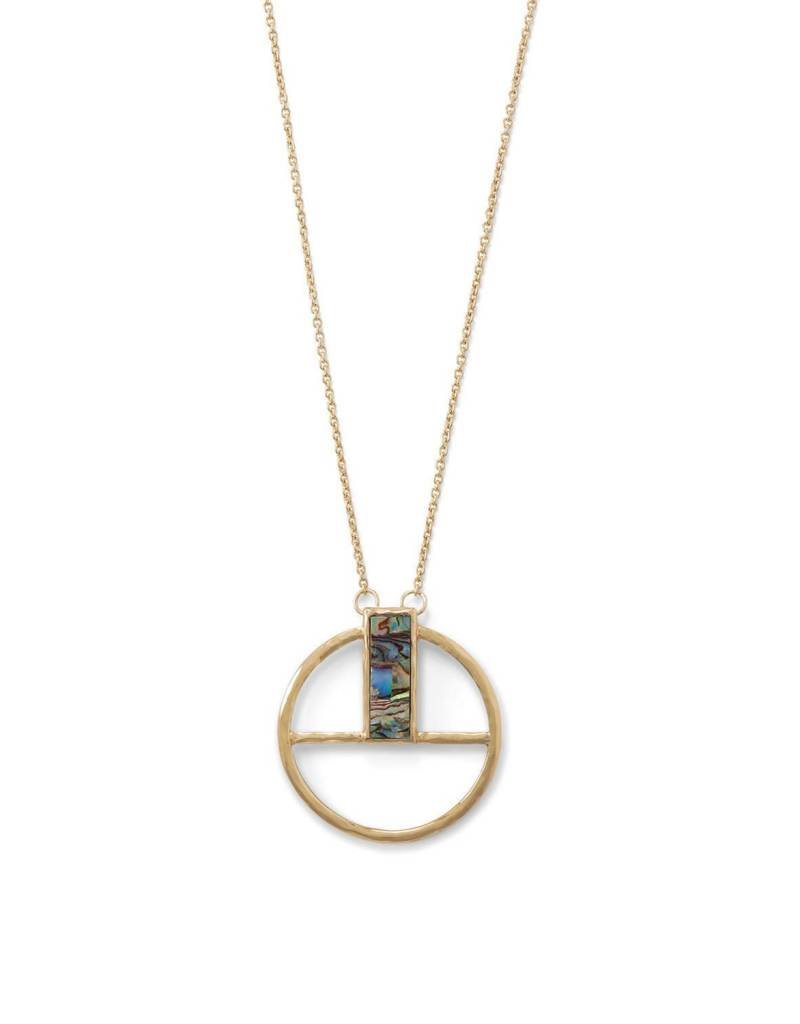 Geometric Round Pendant with Shell Glass