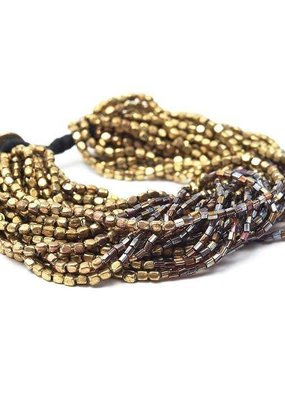 Ink + Alloy Multi-Strand Gold and Brown Bead Bracelet