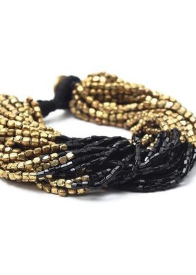 Ink + Alloy Multi-Strand Gold and Black Bead Bracelet