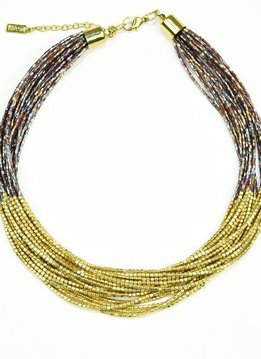 Ink + Alloy Beaded Gold and Brown Multi-Strand Necklace