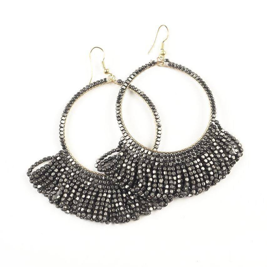 Ink + Alloy Gunmetal Fringe Seed Bead Hoop with Drop