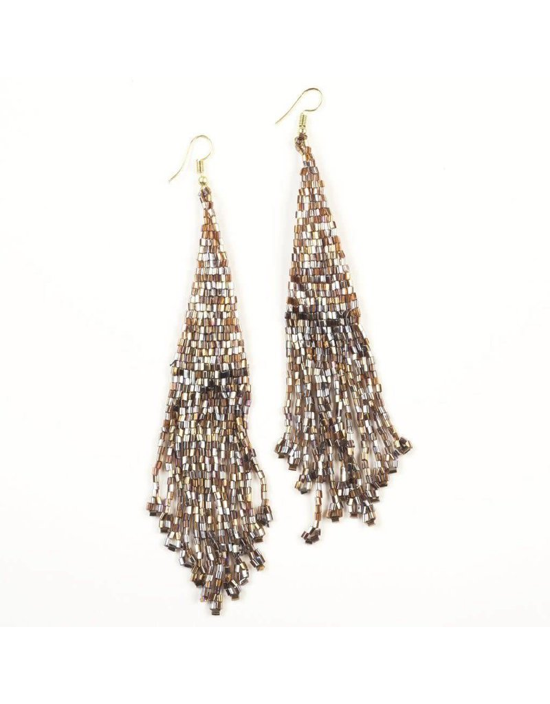 Ink + Alloy Metallic Brown Long Fringe Earrings with Drop