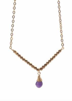 14K Gold Filled Amethyst V Necklace