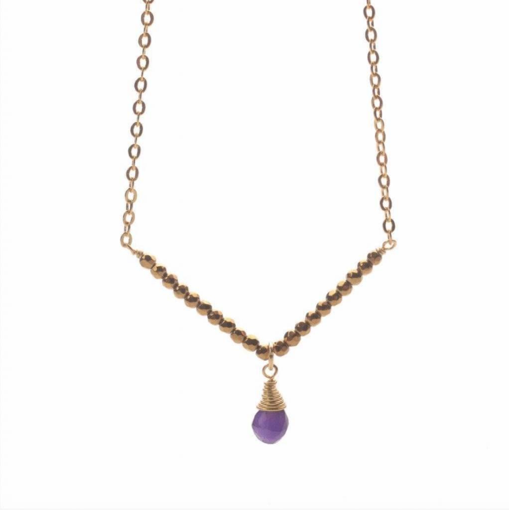 Less is More 14K Gold Filled Amethyst V Necklace