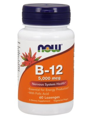 NOW FOODS B-12 5000mcg + FOLIC 60 LOZ